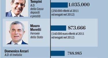 Manager di Stato, subito i tagli Stipendi fino a 311 mila euro