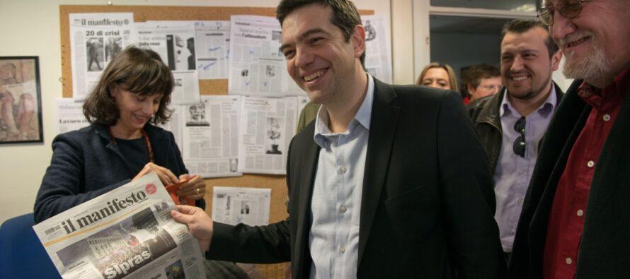 """Tsipras : """"Basta con l'austerity il binario Merkel è morto Renzi deve capirlo"""""""