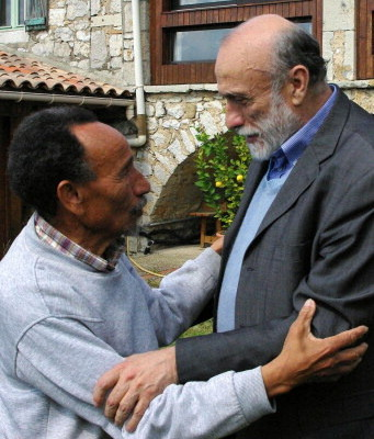 Un momento dell'incontro tra Petrini e Pierre Rabhi