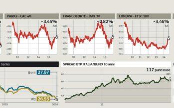Il tonfo delle Borse mondiali Banche giù, Milano cede il 4,8%