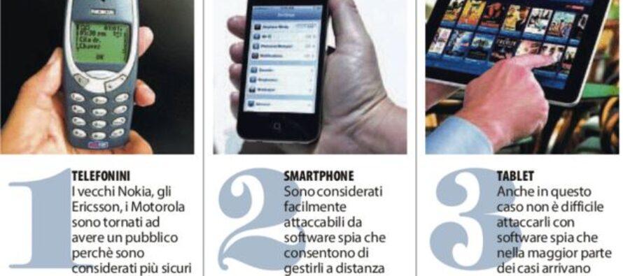Manager e politici con vecchi cellulari in fuga dal virus-spia degli smartphone