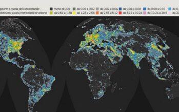 Dove non c'è più buio.Mappa dell'inquinamento luminoso