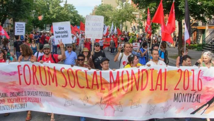 """La """"marcia"""" di avvio del Social Forum a Montreal"""