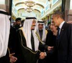 Re Salman bin Abdulaziz dell'Arabia Saudita saluta il presidente Barack Obama