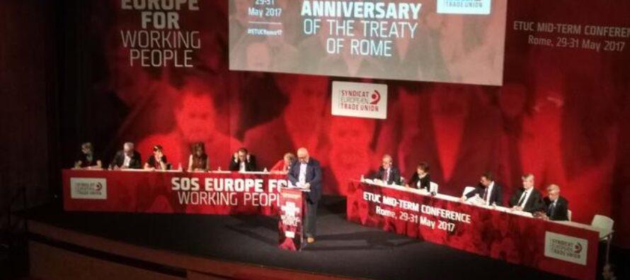 La Confederazione europea dei sindacati a Roma: «Serve una svolta, diritti sociali e più salario»