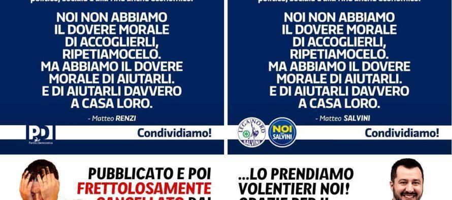 «Aiutiamoli a casa loro». E la Lega di Salvini finì per copiare il Pd di Renzi