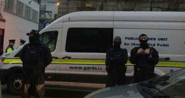 "DUBLIN, Ireland ""Masked Garda threaten housing campaigners with batons"""