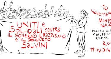 Sabato a Roma gli antirazzisti in piazza contro il decreto Salvini