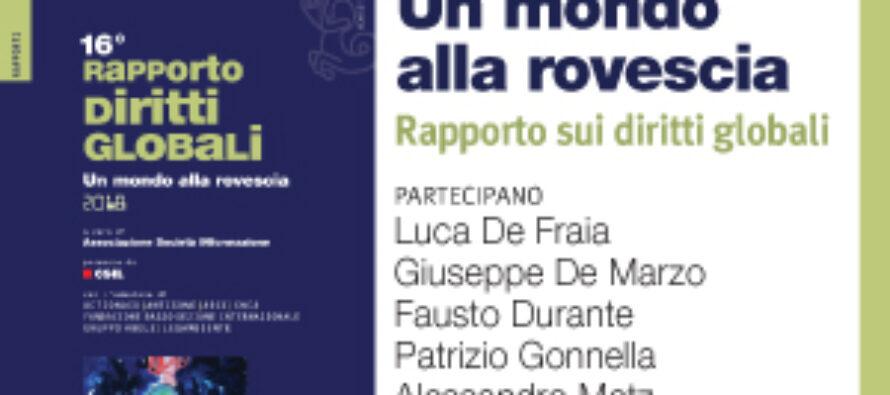 16° RAPPORTO SUI DIRITTI GLOBALI, VENERDÌ LA PRESENTAZIONE A ROMA