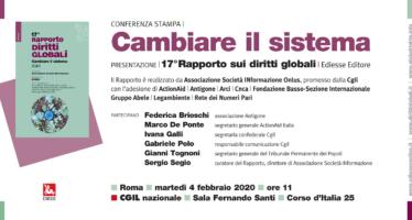 Il 4 febbraio a Roma presentazione del nuovo Rapporto Diritti Globali