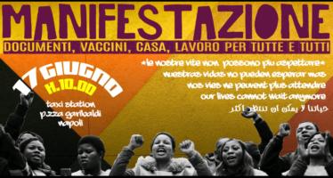 Napoli. Corteo del Movimento migranti e rifugiati per il Permesso d'emergenza